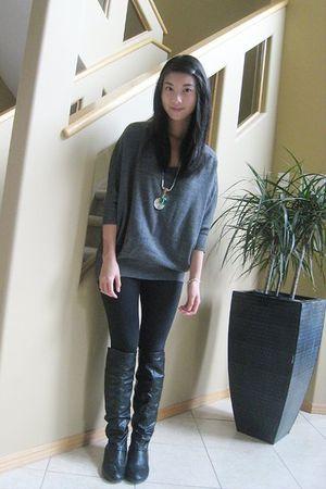 Gray Attitude Sweaters Black Leggings Black Aldo Boots | u0026quot;Light in the mist.u0026quot; by doricelee ...