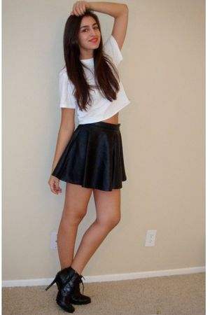 Black Forever21 Skirts White DIY Hanes Ts Shirts Black Dollhouse Boots | u0026quot;party monsteru0026quot; by ...