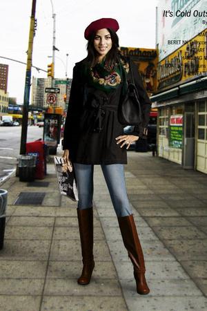 black coats black purses brown boots blue green