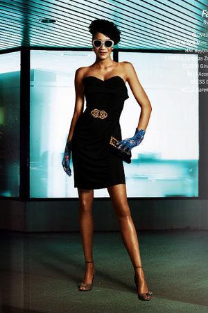 Black Dresses, Brown Shoes, Blue Gloves, White Accessories, Black ...
