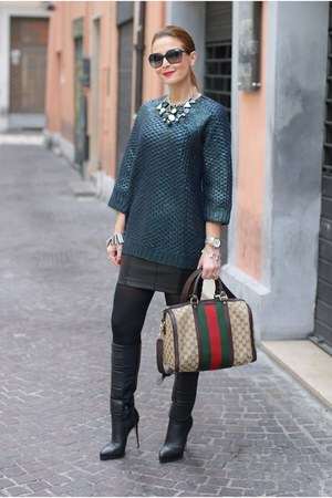 Dark Green H Amp M Sweaters Black Le Silla Boots Red Gucci