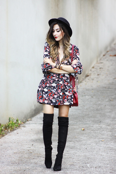 FLORAL AND OVER KNEE BOOTS