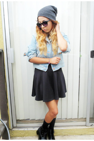 Black Skirt Skirts, Boots, Grey Beanie Hats, Denim Jacket ...