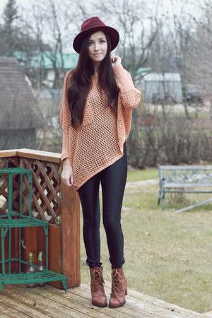 Light Pink Awwdore Sweaters Brown Romwe Boots Black
