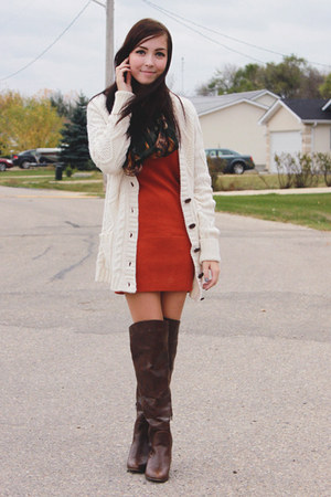 Dark Brown Spring Boots Burnt Orange Girlfriends Material