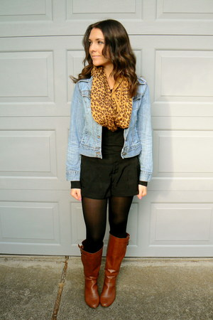 Brown Leopard Print Scarves Brown Apt 9 Boots Blue Denim Jean Old Navy Jackets | u0026quot;$50 outfit ...