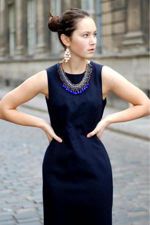 Blue Zara Necklaces Navy Vintage Dresses Light Brown