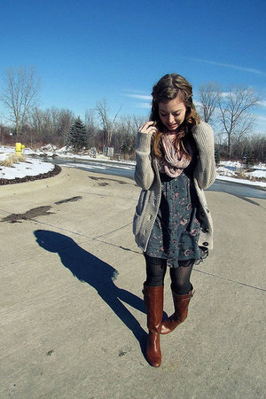 Brown Boots Teal Dresses Light Pink Scarves Beige Cardigans | u0026quot;Favorite outfit.u0026quot; by ...