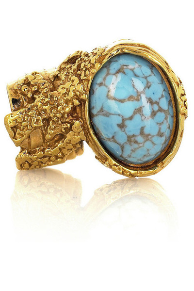 Yves Saint Laurent Arty Oval Ring  :  blue ring designer jewelry