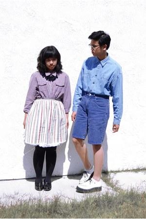 Men's Black Shoes, White Shoes, Blue Shirts, Purple Shirts, Blue ...