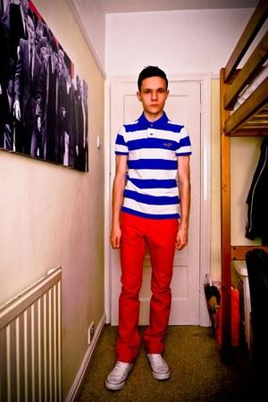 mens striped hollister polo shirt tops red hampm pants