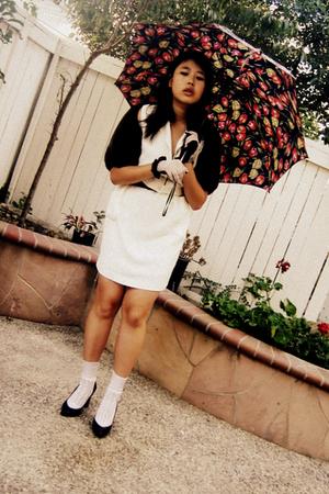 Brown Coats White Dresses White Socks Black Shoes