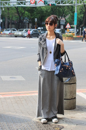 gray maxi skirt skirts gray jackets navy bags