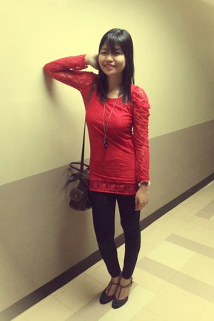 Red lace dress with tights