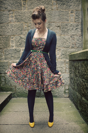 Green Floral Monsoon Dresses Navy Tights Navy Forever 21