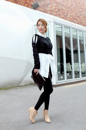 Black Knitted Stylenanda Tops Neutral Ankle Boots Black
