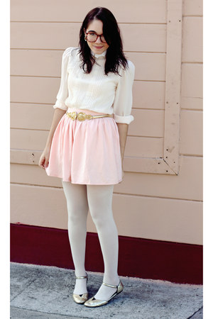 Light Pink American Apparel Skirts Gold Shoes Light Pink