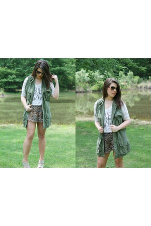 Army Green Military Vest Vests, Gray Flowy Shorts Shorts Shorts ...