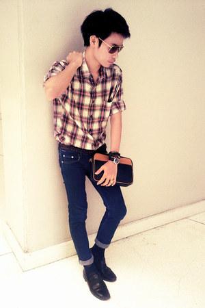 Men S Navy Skinny Jeans Hl Jeans Black Leather Shoes