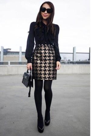 Gold Houndstooth Saba Skirts Black Audrey Celine