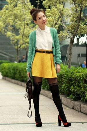 Mustard Skirts White Studded Collar Shirts Black Tights