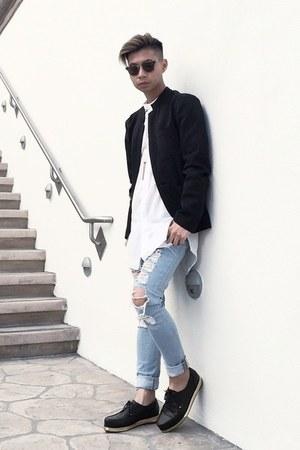 Men S Black Platform Valas Shoes Light Blue Shredded Asos Jeans