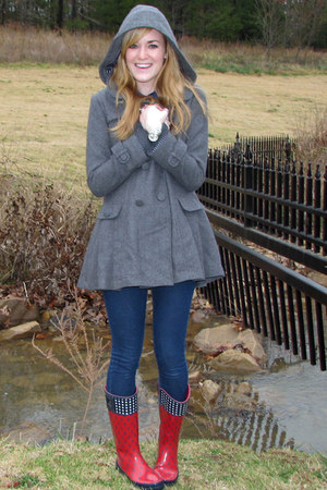 Red Rain Sperry Boots Heather Gray Forever21 Coats Navy