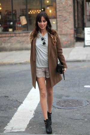 Olive Green Wool Coat COS Coats, Silver Lace Shorts Maje Shorts ...