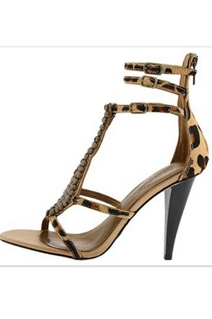 Leopard Gladiator Stilettos - sam edelman shoes  :  chic heels shoes print