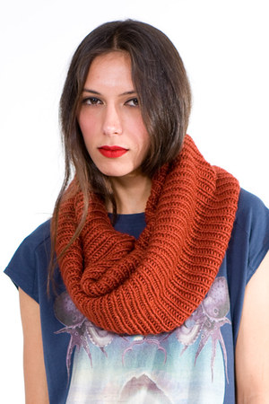 Burnt Orange Tube Knit Scarf Scarves Infinit Tube Knit Scarf By Numbera Chictopia