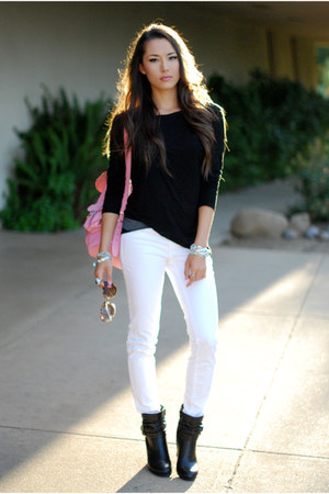 Black Pink And Pepper Boots White Jbrand Jeans Bubble