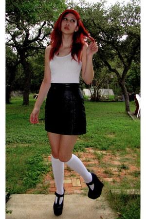black mini maxima skirts white knee high mossimo socks