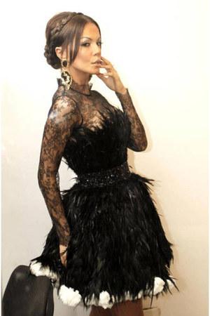 Black Lace Dress Dresses Black Fur Black Dresses White