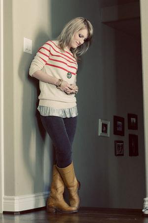 Beige Gap Sweaters Beige Frye Boots Gray J Brand Jeans