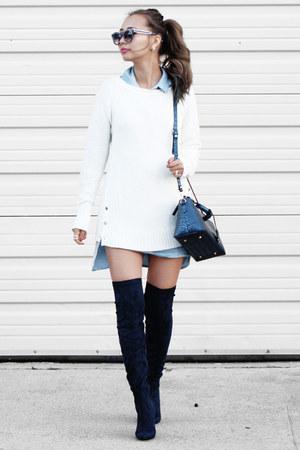 White Calvin Klein Sweaters, Navy Public Desire Boots ...