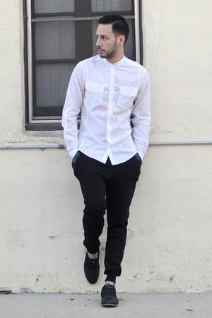 mens black royal elastics shoes white hampm shirts black