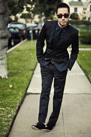 Men S Black Zara Suits Black Antoinestanley Shoes Navy H
