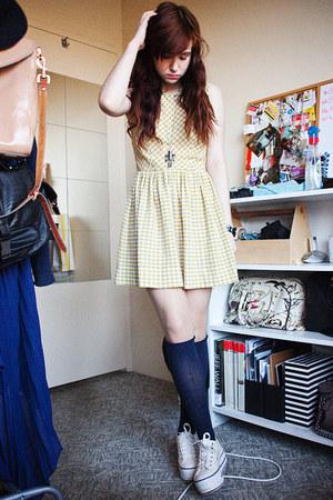 checkered tigerlily dresses knee high socks socks