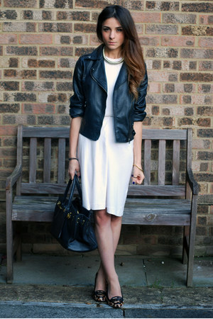 Black Leather Biker Jackets White White Dress Dresses