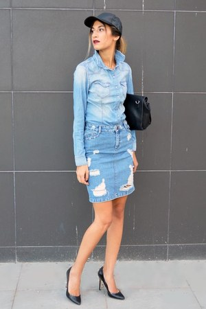 Denim H&M Shirts, Black Leather Ebay Hats, Black Zara Heels, Asos ...