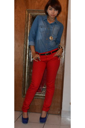 Red Blouse And Jeans
