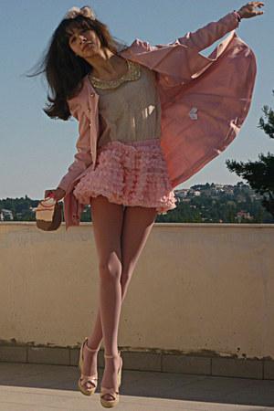 Light Pink Chicwish Skirts Light Pink Romwe Coats Light