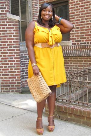 Yellow Ruffled Ashley Stewart Dresses Tan Ankle Strap
