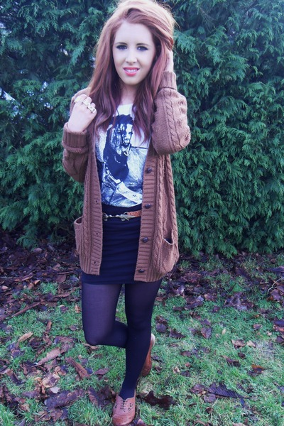 new look cardigan - Topshop top - new look skirt