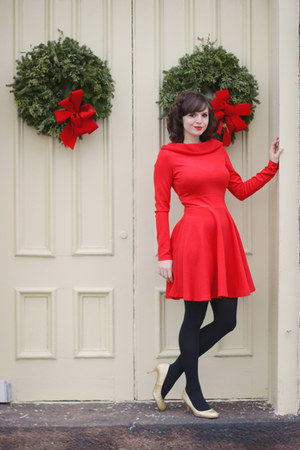 Red Asos Dresses Black Target Tights Gold Modcloth Heels