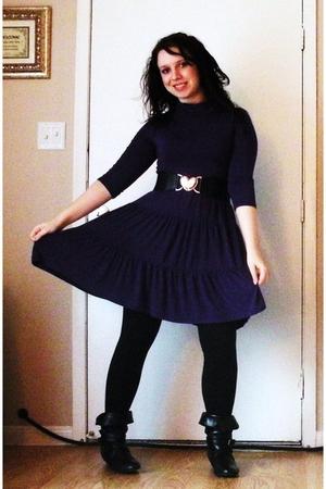 Purple Macys Dresses Black Leggings Black Charming Charlie Boots Black Rue 2s | U0026quot;Lazyu0026quot; By ...