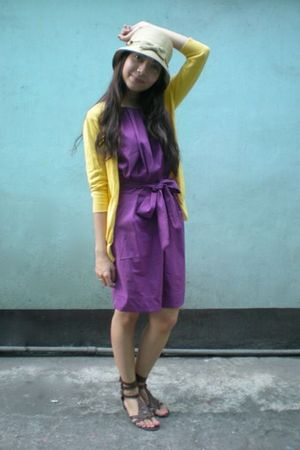 purple get laud dresses yellow thrifted cardigans brown