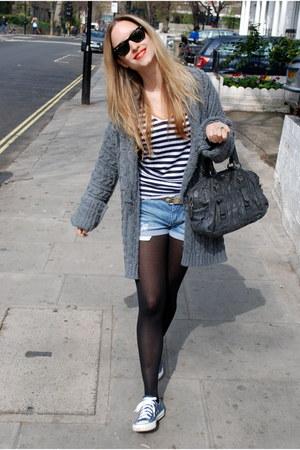 Gray Prada Bags, Periwinkle Denim Shorts Zara Shorts, Navy