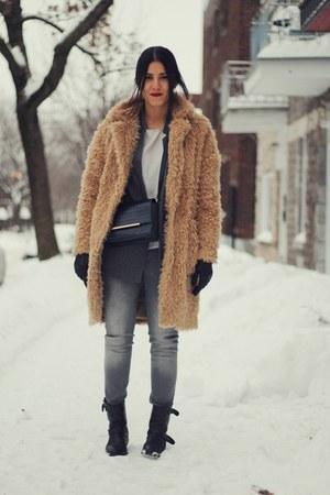 Gray Pinstripe Zara Jackets Black Mango Boots Camel