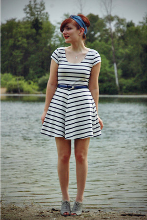 White Striped H Amp M Dresses Turquoise Blue Modcloth Scarves